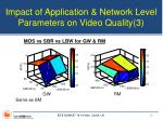 impact of application network level parameters on video quality 3