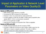 impact of application network level parameters on video quality 5