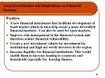 asset securitisation and implications on financial markets