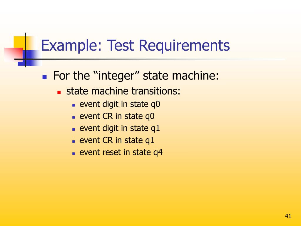 Example: Test Requirements