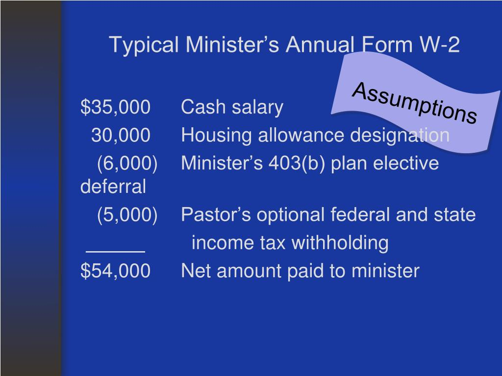 Typical Minister's Annual Form W-2