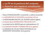 1 la pv en la pastoral del conjunto c aspectos que requieren actualizaci n