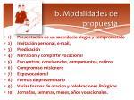 b modalidades de propuesta
