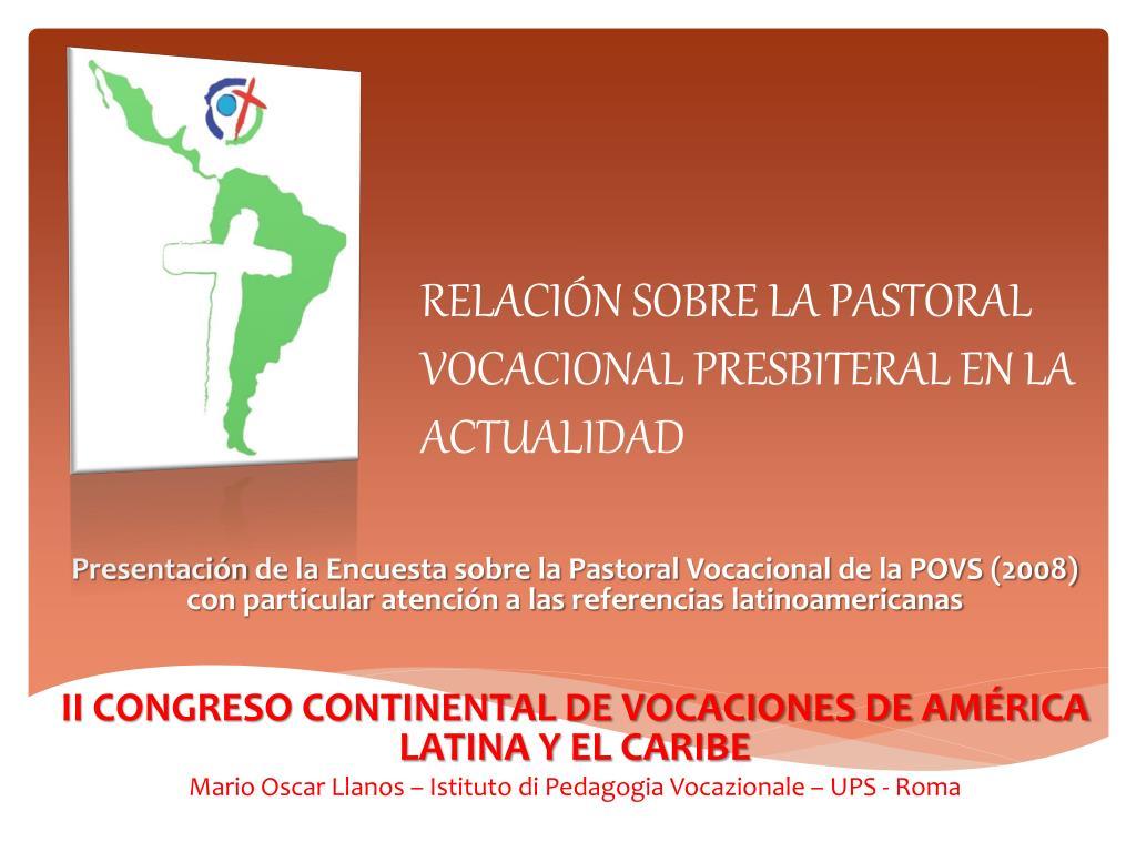 relaci n sobre la pastoral vocacional presbiteral en la actualidad l.