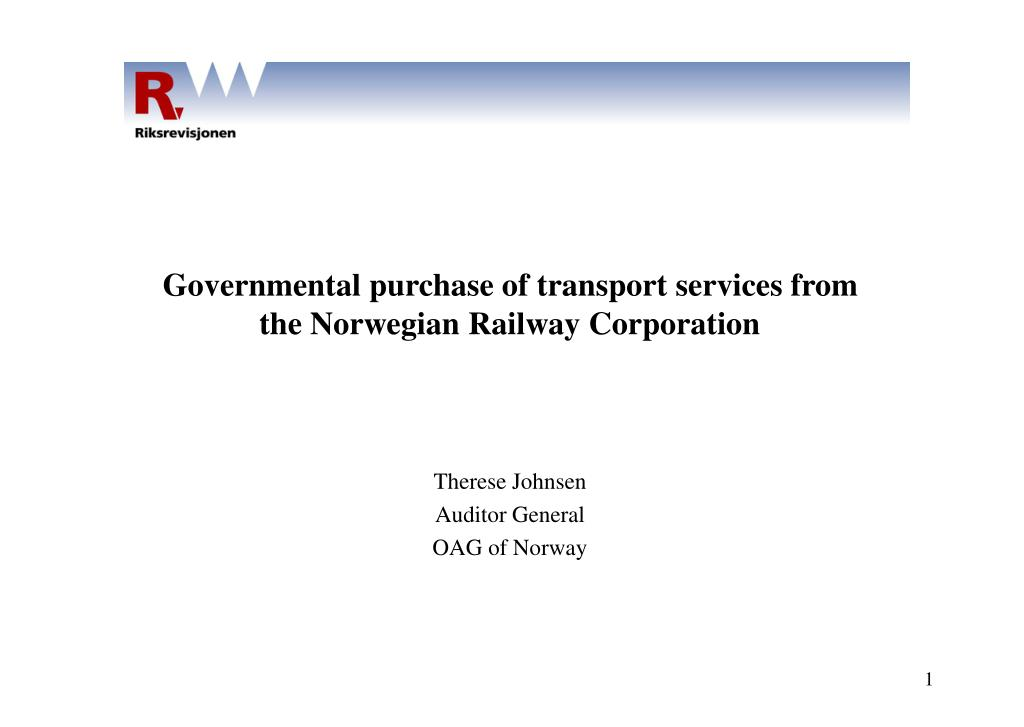 governmental purchase of transport services from the norwegian railway corporation l.
