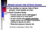 breast cancer risk of farm women