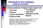 chemicals in the workplace what do we know