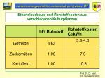 ethanolausbeute und rohstoffkosten aus verschiedenen kulturpflanzen