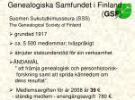 genealogiska samfundet i finland gsf