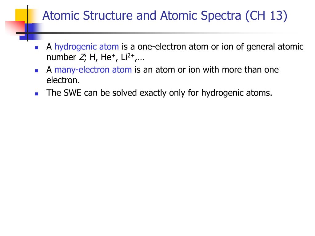 atomic structure and atomic spectra ch 13 l.