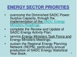 energy sector priorities