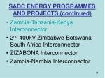 sadc energy programmes and projects continued