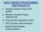 sadc energy programmes and projects