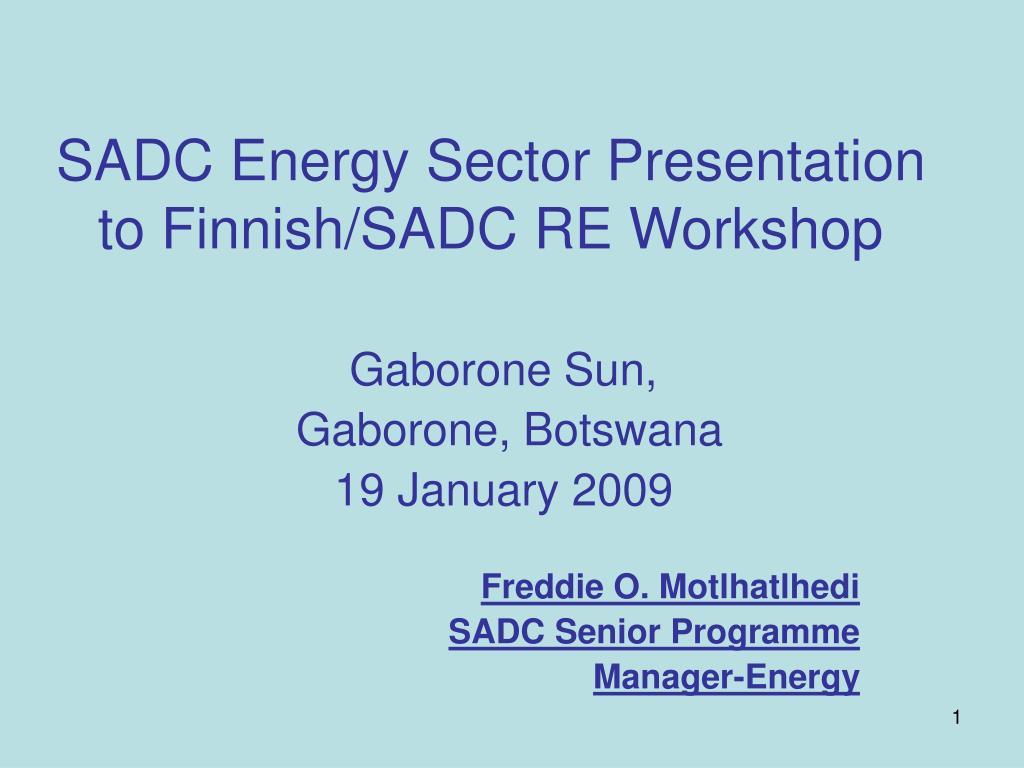 sadc energy sector presentation to finnish sadc re workshop l.