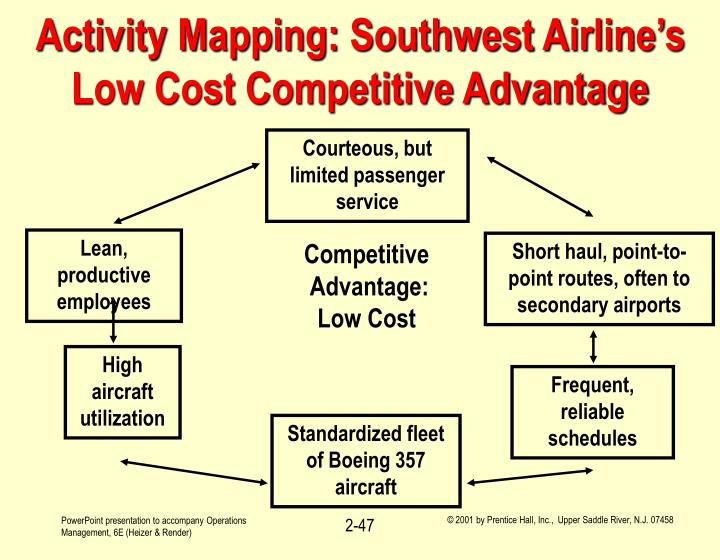 competitive strategy for low cost airlines A firm can achieve competitive advantage either by supplying an identical product or service at lower cost or by supplying a product or service that is differentiated in such a way that the customer is willing to pay a premium price.