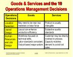 goods services and the 10 operations management decisions22