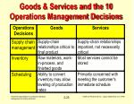 goods services and the 10 operations management decisions23