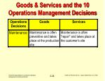 goods services and the 10 operations management decisions24