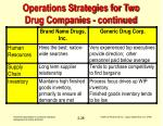 operations strategies for two drug companies continued28