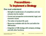 preconditions to implement a strategy