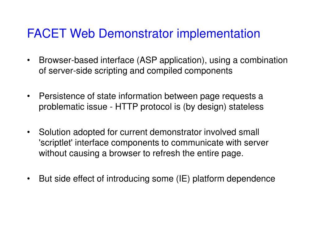 FACET Web Demonstrator implementation