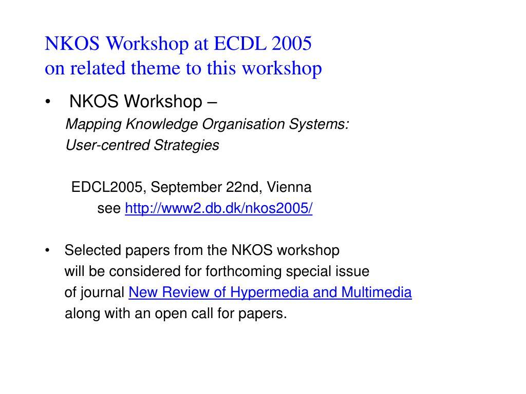 NKOS Workshop at ECDL 2005