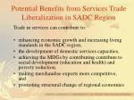 potential benefits from services trade liberalization in sadc region