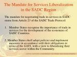 the mandate for services liberalization in the sadc region