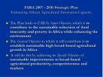 fara 2007 2016 strategic plan enhancing african agricultural innovation capacity
