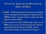 forum for agricultural research in africa fara