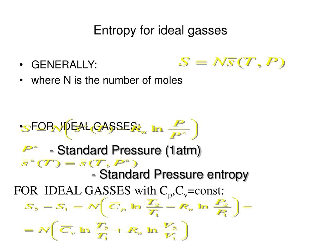 Entropy for ideal gasses