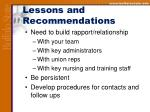 lessons and recommendations34