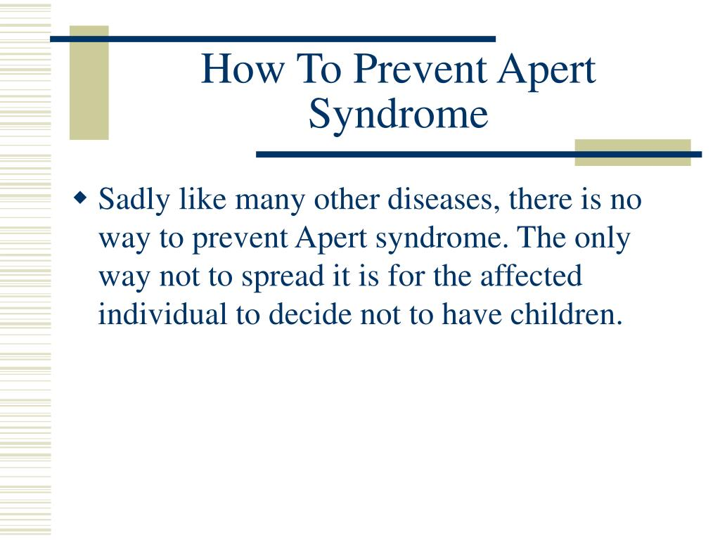 How To Prevent Apert Syndrome
