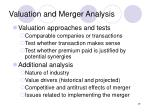 valuation and merger analysis
