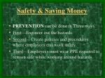 safety saving money