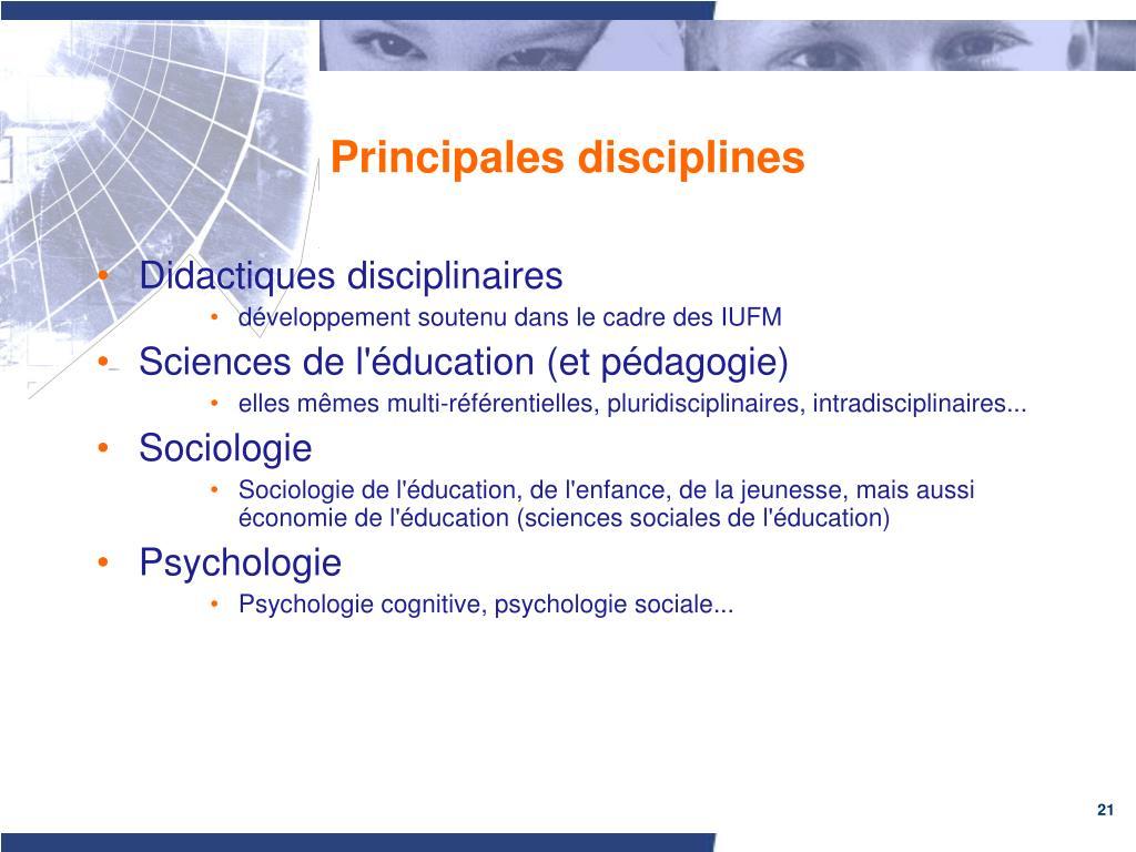 Principales disciplines