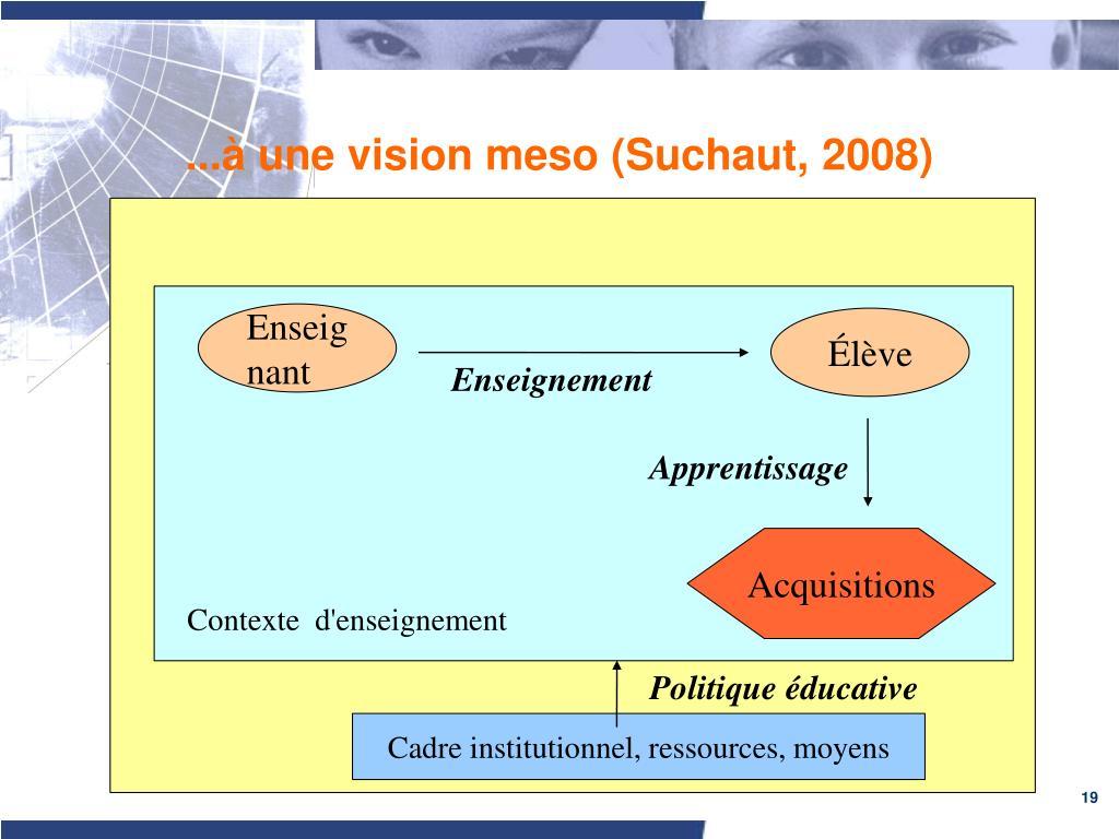 ...à une vision meso (Suchaut, 2008)