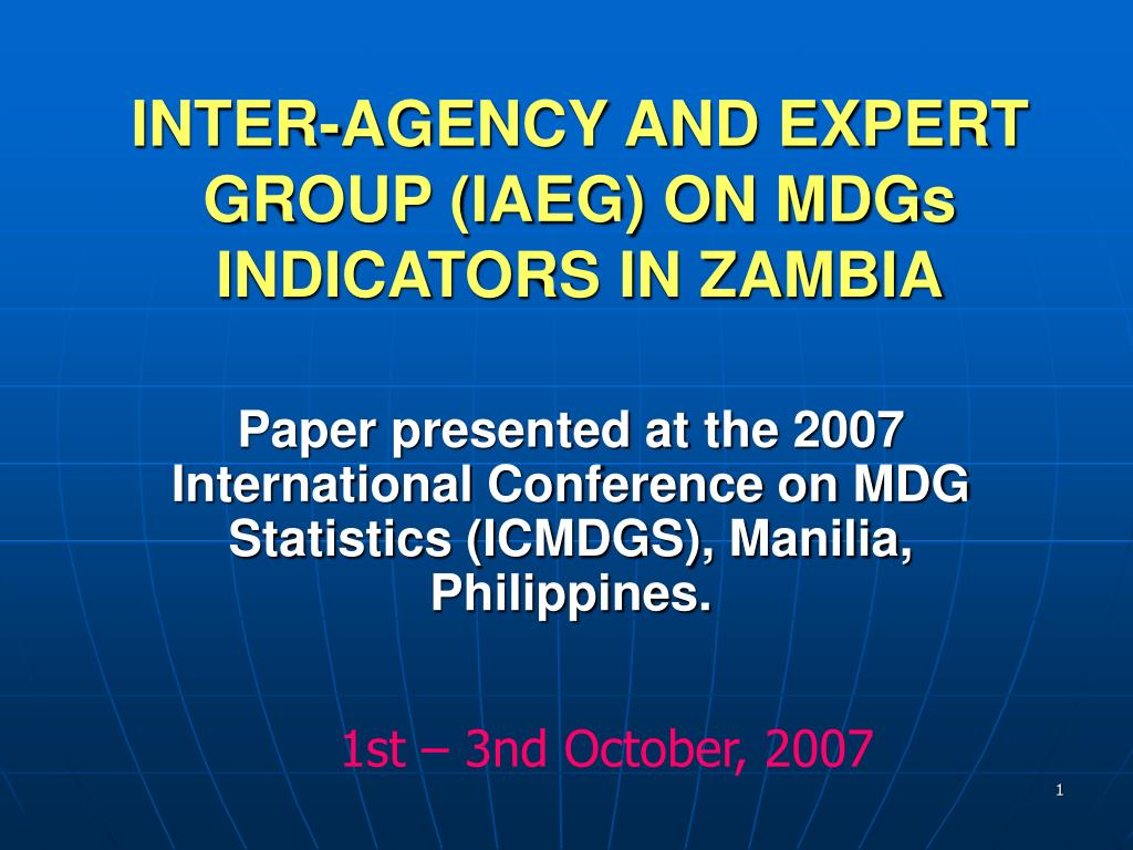 inter agency and expert group iaeg on mdgs indicators in zambia l.
