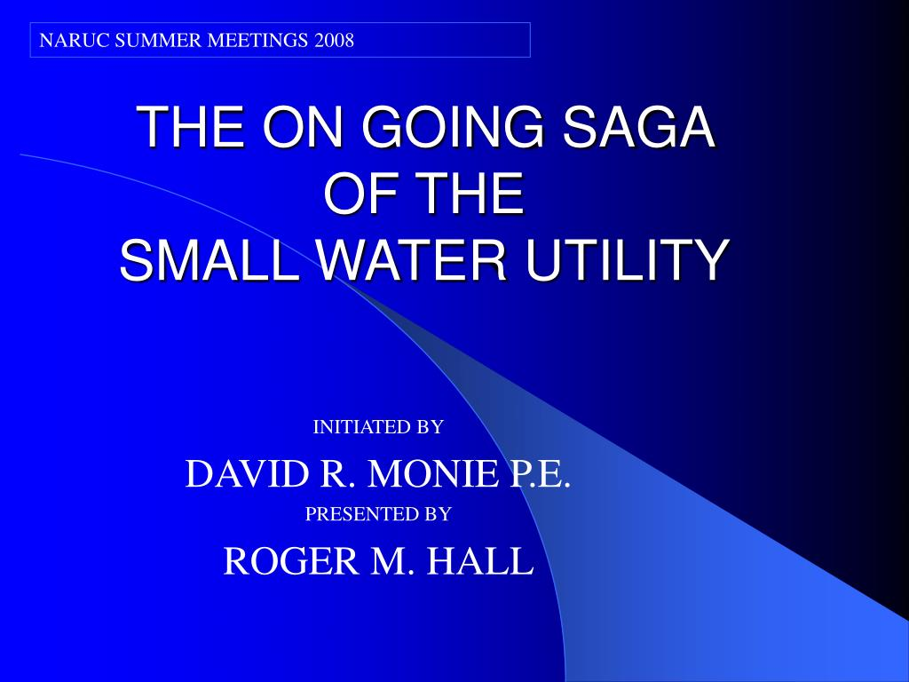 the on going saga of the small water utility l.