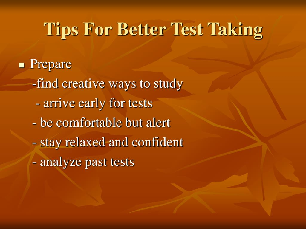 preparing for and taking test