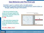 gas behavior and the first law