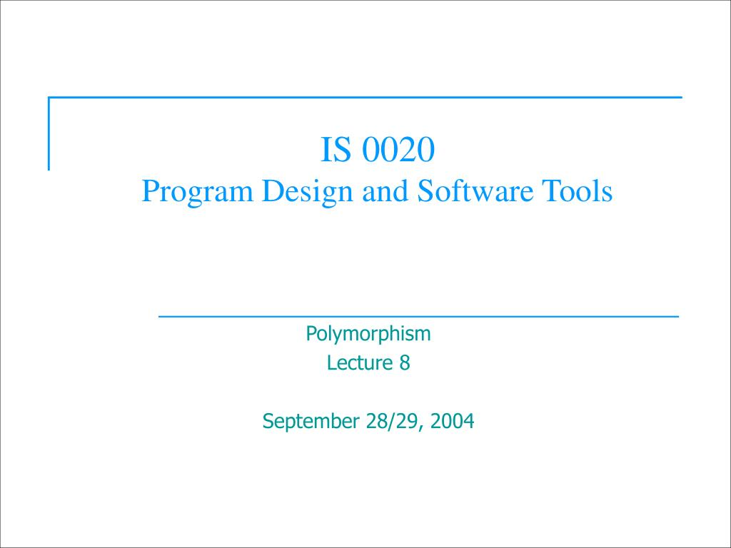 is 0020 program design and software tools l.