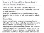 results of zech and west study part 4 internal control variables