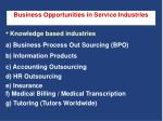 business opportunities in service industries