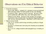 observations on un ethical behavior