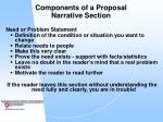 components of a proposal narrative section33