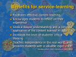 benefits for service learning