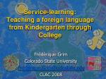 service learning teaching a foreign language from kindergarten through college
