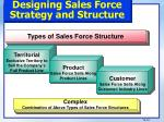 designing sales force strategy and structure