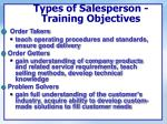 types of salesperson training objectives